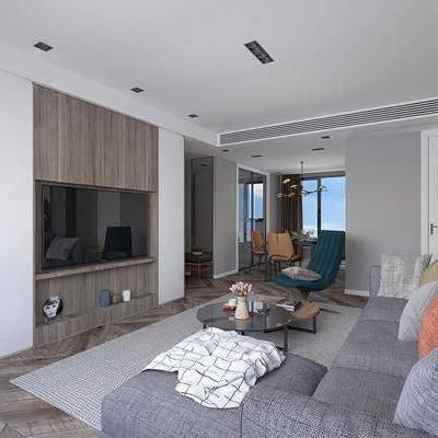 多人沙发, 转角沙发, 茶几, 摆件, 单人沙发, 单人椅, 餐桌, 吊灯, 装饰柜, 沙发榻, 现代