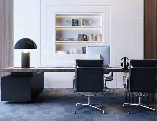 办公桌, 书桌, 单人椅, 台灯, 装饰品, 摆件, 陈设品, 办公椅, 现代