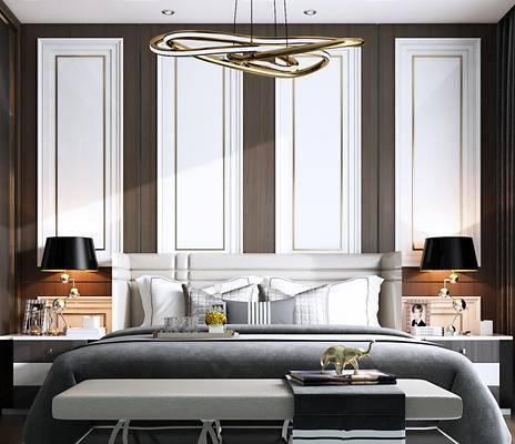 双人床, 床具组合, 衣柜, 吊灯