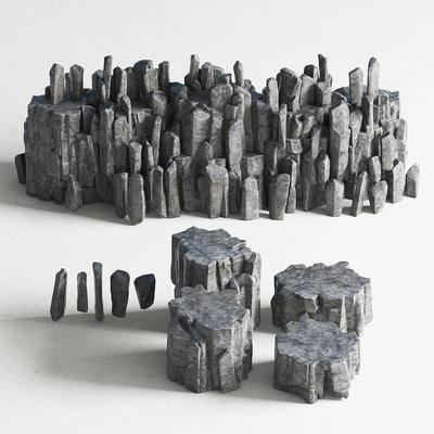 现代园林小品景观石头户外茶几组合, 现代, 石头