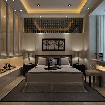 新中式, 卧室, 挂画, 床, 地毯, 托盘, 窗帘, 吸顶灯, 单椅
