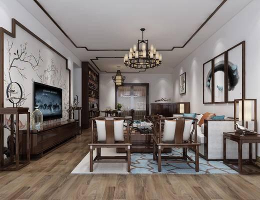 中式客厅, 客厅, 中式, 新中式, 沙发组合, 电视柜, 单椅, 休闲椅, 装饰画, 电视墙, 挂画, 茶几, 边几, 台灯, 吊灯, 客餐厅
