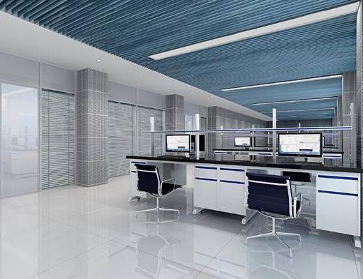 现代, 开放式, 办公室, 办公桌, 办公椅