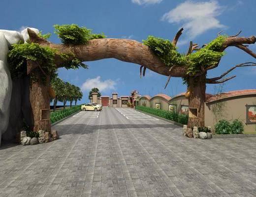 樹根門頭, 門面門頭, 汽車組合, 灌木, 綠植植物, 現代