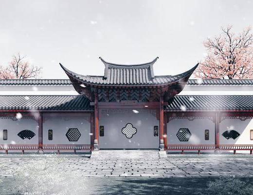 长廊, 青瓦白墙, 园林景观