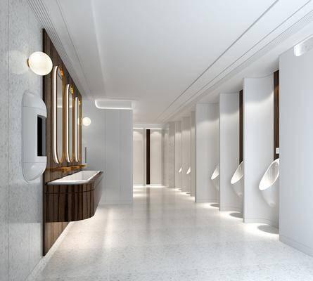 卫生间, 小便斗, 装饰镜, 洗手台, 壁灯, 现代
