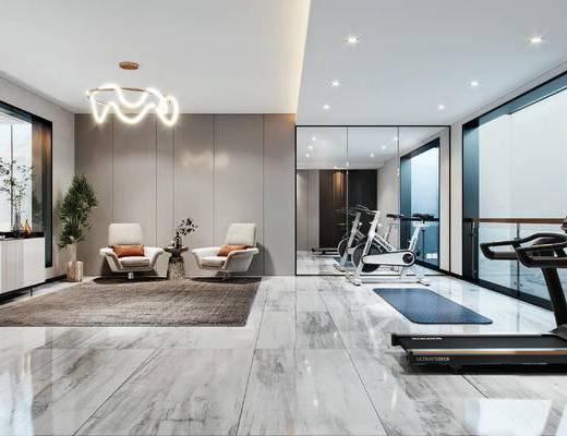 现代, 别墅, 健身房