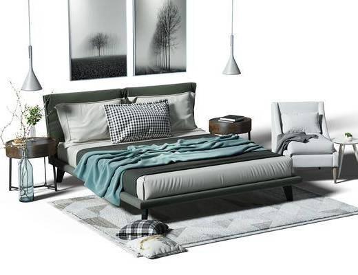 北欧双人床, 床, 床头柜, 花瓶, 植物, 抱枕, 装饰画, 吊灯, 椅子