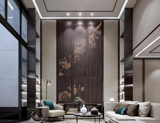 新中式, 客厅, 别墅客厅, 沙发茶几组合, 落地灯
