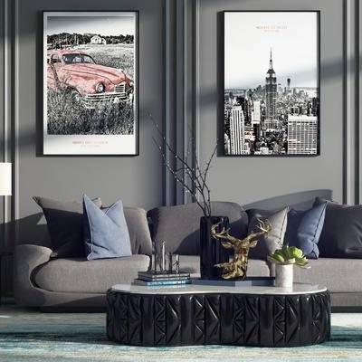现代休闲沙发组合, 沙发茶几组合, 现代, 沙发组合, 多人沙发, 休闲沙发, 单人沙发, 装饰画, 挂糊
