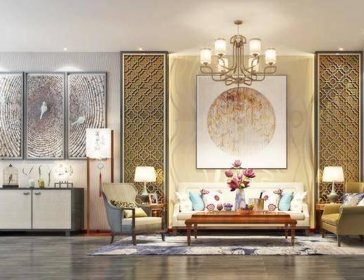 茶几, 背景墙组合, 沙发组合, 客厅, 吊灯, 挂画, 边柜