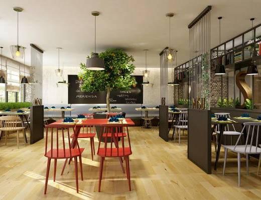 餐桌, 餐厅, 植物, 桌椅组合, 单椅