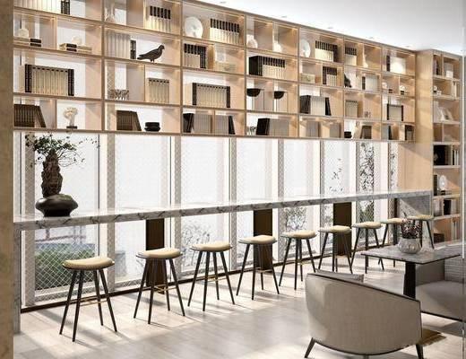 售楼处, 吧台, 书柜, 书籍, 桌椅组合