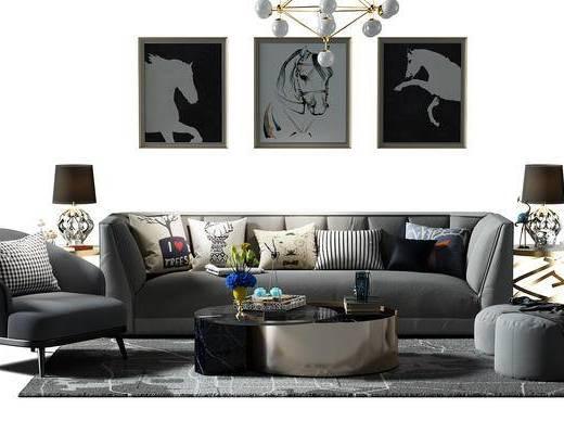 沙发茶几组合, 沙发椅, 椅子, 沙发凳, 凳子, 画, 挂画, 装饰画, 组合画, 盆景, 植物, 沙发组合, 现代