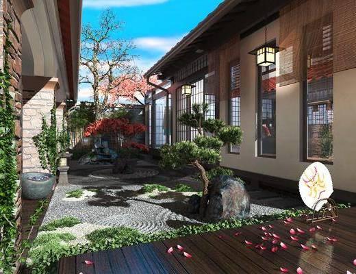 中式, 花园, 庭院