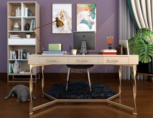 书桌, 单人椅, 电脑, 台灯, 动物画, 装饰画, 挂画, 盆栽绿植, 书柜, 书籍, 后现代