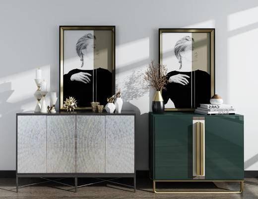 装饰柜, 柜架组合, 摆件组合, 装饰画