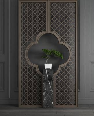 雕花屏风, 隔断盆栽, 绿植植物, 摆件组合, 新中式