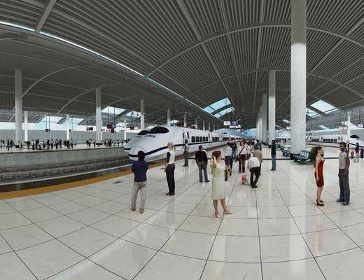 现代, 车站, 月台, 轻轨, 高铁