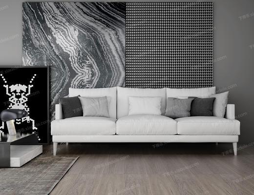 沙发组合, 沙发茶几组合, 现代沙发, 白色沙发, 茶几, 多人沙发