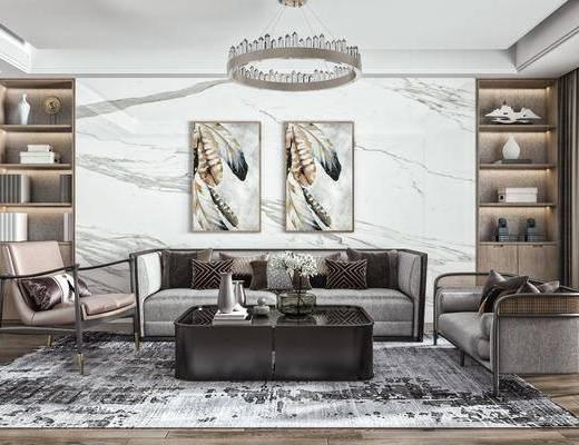 多人沙发, 吊灯, 挂画, 酒柜, 摆件组合