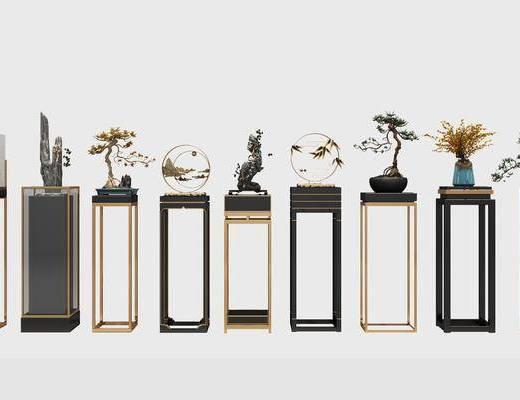 装饰架, 盆栽, 摆件, 花瓶, 花卉, 新中式