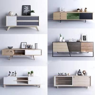 电视柜, 北欧, 现代, 陈设品, 摆件