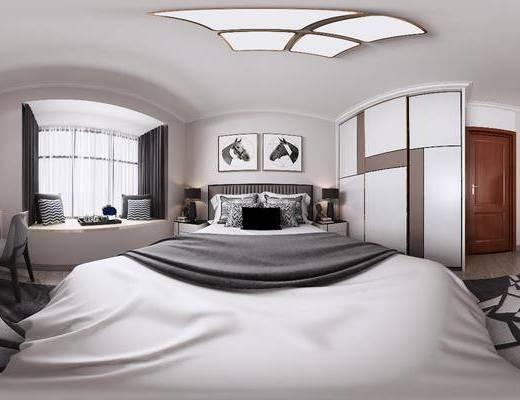 現代臥室, 臥室, 雙人床