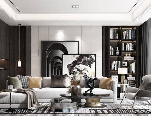 沙發, 椅子, 床尾踏, 臺燈, 吊燈, 掛畫, 邊幾, 書柜
