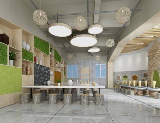 陶艺教室, 桌子, 凳子, 吊灯, 装饰柜, 绿植植物, 书柜, 书籍, 摆件, 装饰品, 陈设品, 竹编灯, 盆栽, 现代