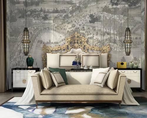 中式, 吊灯, 床头柜, 床尾凳, 陈设品, 新中式