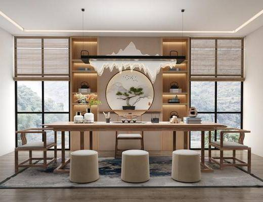 桌椅组合, 茶桌, 吊灯, 茶具组合