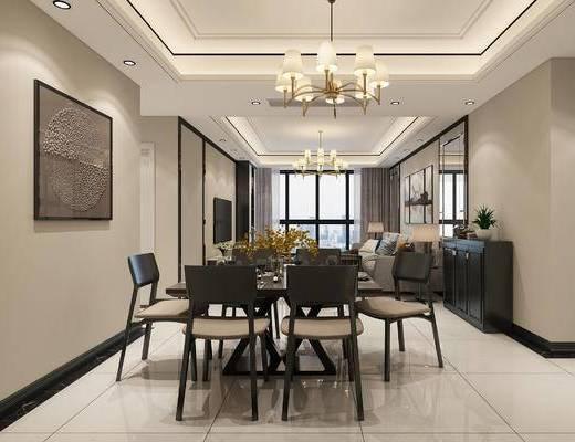 客厅, 餐厅, 沙发组合, 现代沙发, 现代客厅, 吊灯