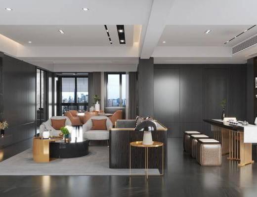 后现代客厅, 多人沙发, 茶几, 边几, 书桌, 沙发凳