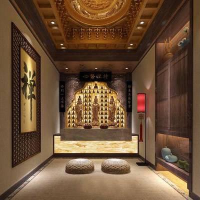 中式, 佛堂, 装饰柜, 装饰画, 台灯, 佛像, 佛