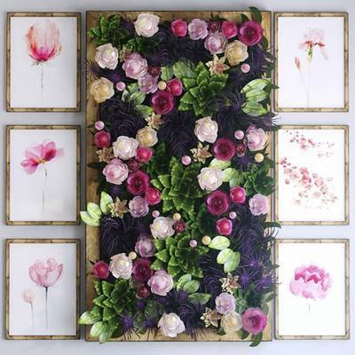 植物背景墙, 玫瑰花, 挂画, 现代, 植物墙, 植物, 绿植