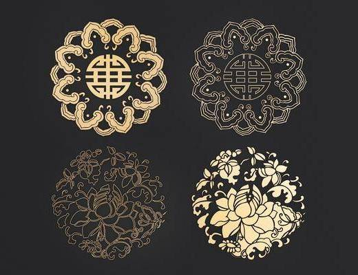 圆形花纹, 镂花, 中式, 双十一