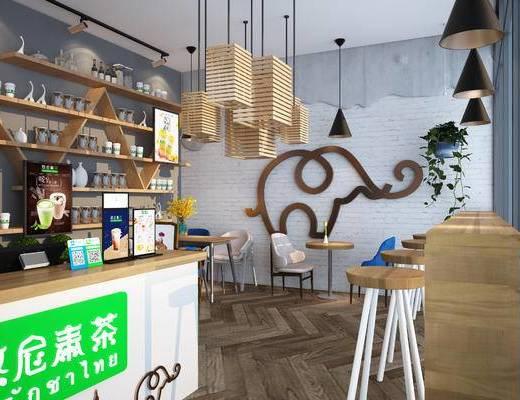奶茶, 现代, 夜景, 饮料店, 奶茶店, 吧台, 吊灯