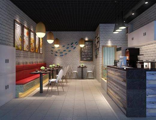 奶茶店, 餐桌, 卡座, 单人椅, 吊灯, 墙饰, 前台, 装饰画, 挂画, 现代