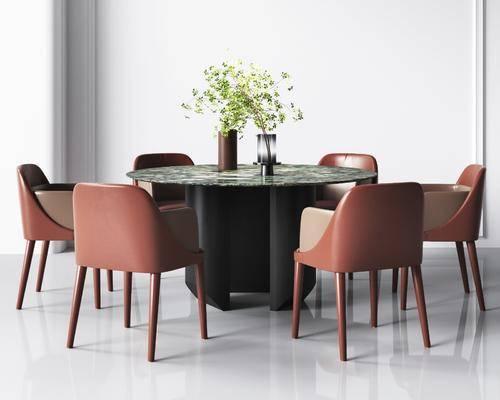 现代, 轻奢, 餐桌椅, 组合