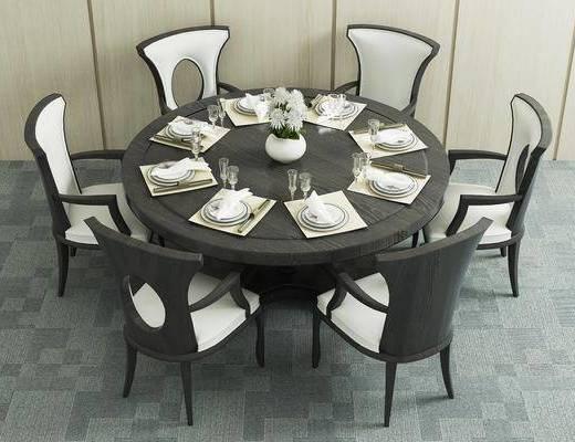 餐桌, 椅子, 圆桌, 单椅, 餐具, 花瓶, 花卉, 高脚杯, 新中式