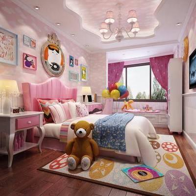 儿童房, 卧室, 现代, 现代卧室, 床, 床头柜, 台灯, 吊灯, 玩具, 衣柜, 书桌