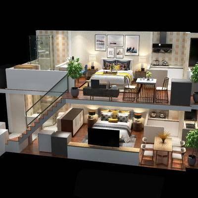 复式, 家装, 整套, 卧室, 厨房
