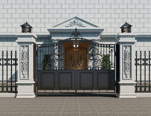 现代大门, 铁门, 双开门
