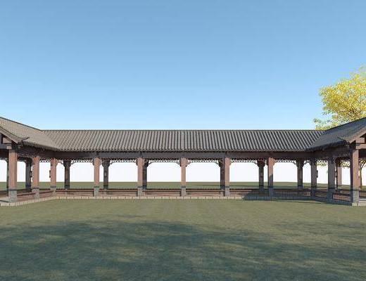 园林景观长廊, 木长廊, 古建筑