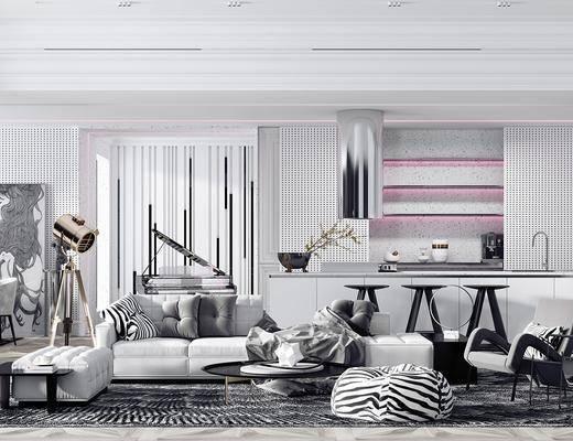 沙发组合, 茶几, 吊灯, 餐桌, 桌椅组合, 中岛, 装饰画