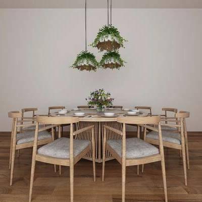 新中式餐桌, 新中式, 餐桌, 椅子, 吊灯