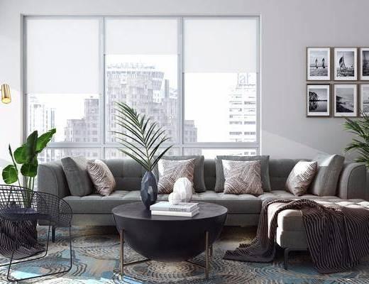 现代, 转角沙发, 椅子, 茶几, 挂画, 盘栽