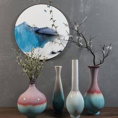 陶瓷, 花瓶, 装饰画, 中式