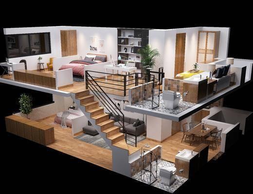 公寓鸟瞰, 客厅, 卧室, 沙发茶几组合, 沙发组合, 餐桌椅组合, 书桌椅组合, 床具组合, 摆件组合, 书柜组合, 现代